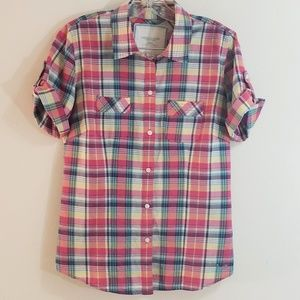 American Eagle Outfitters Plaid Shirt, Pink, Sz 10